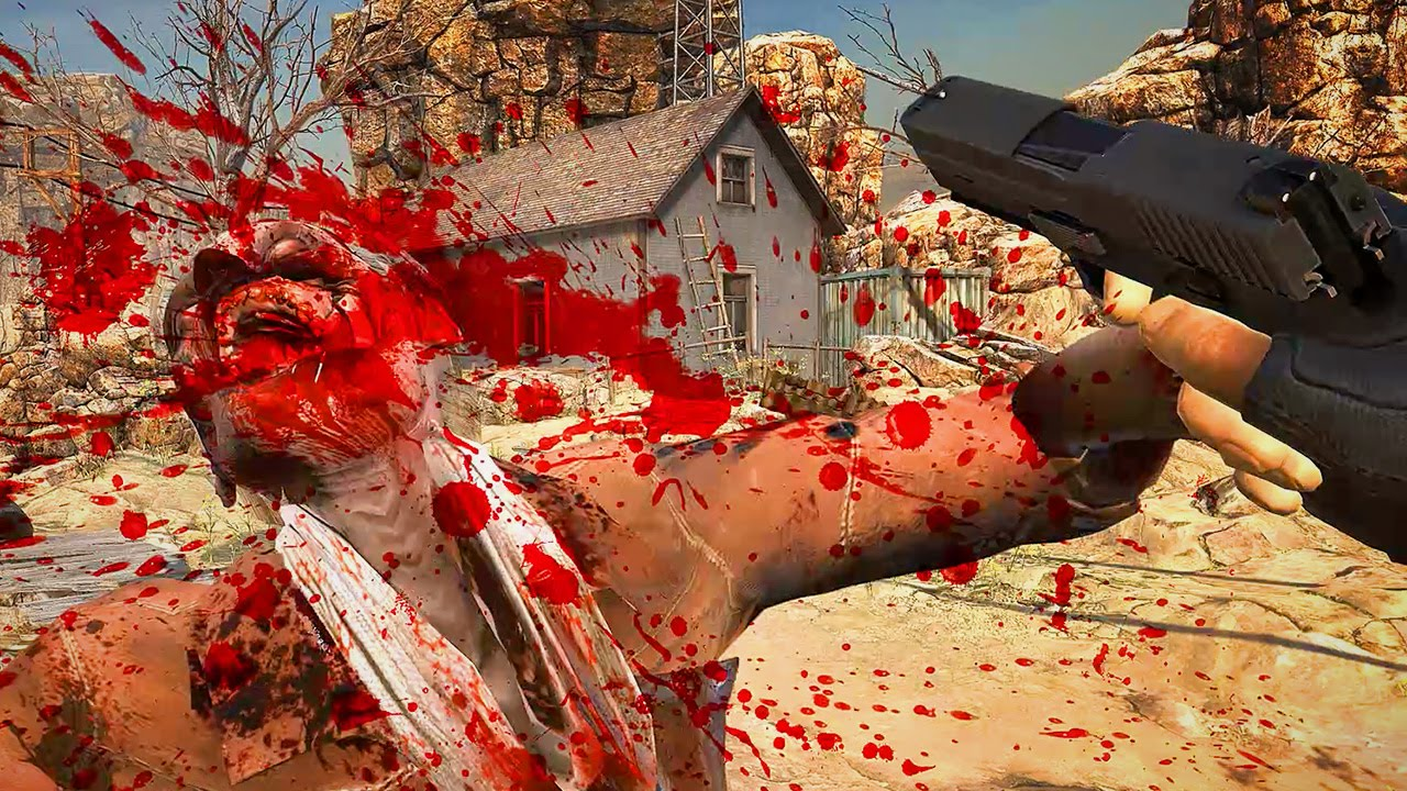 Screen capture of a zombie shooter HTC Vive VR demo game that shows a zombie being shot and falling backwards