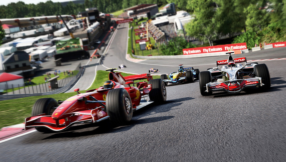 Promo image of the game F1 2017 showing 3 formula 1 cars racing on a track