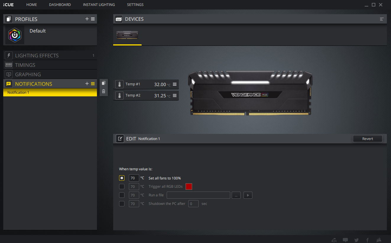 A screenshot of the Corsair iCUE software showcasing some of the notifications one can programme to receive when a component reaches a certain temperature, and the action taken as a result