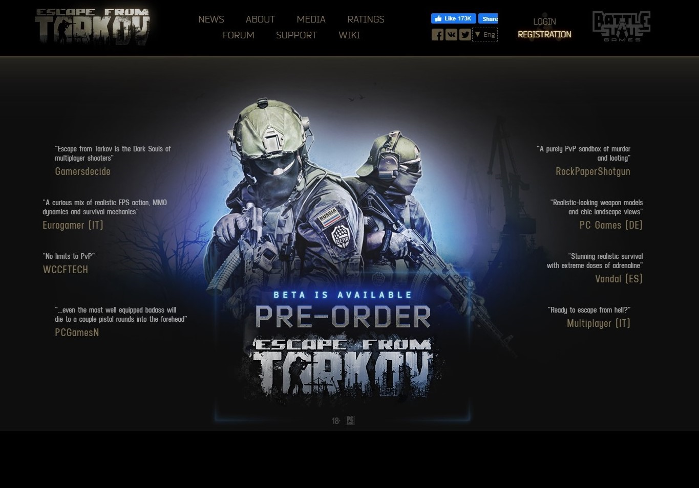 Screenshot of the Escape From Tarkov website home page