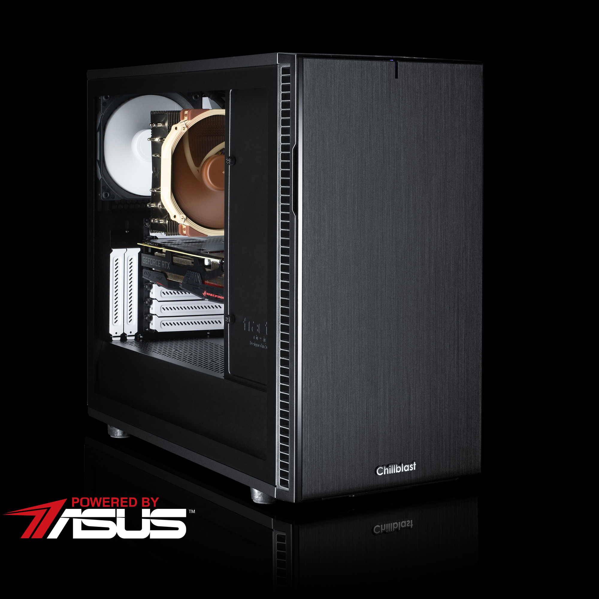 Image of the pre-built Chillblast Serenity Elite Gaming PC against a dark background.
