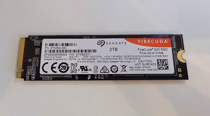Image of the information sticker on the back of a Seagate FireCuda NVMe SSD