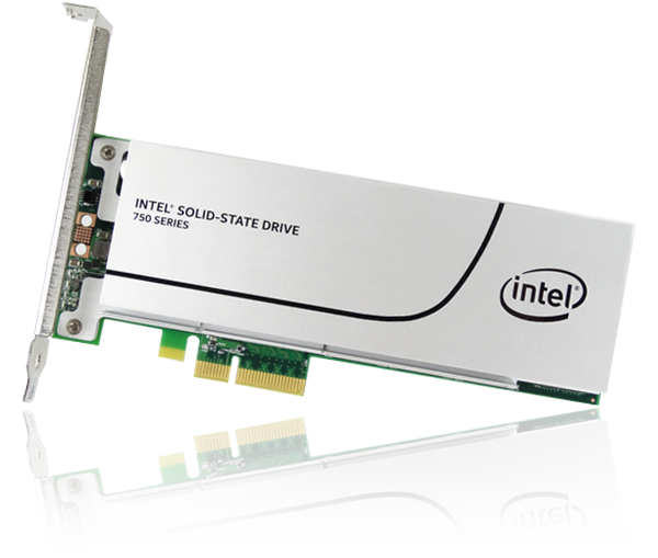 Image of an Intel 750 series 400GB PCI Express SSD against a white background.