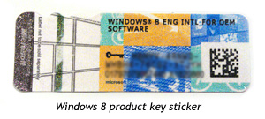 Windows 8 product key sticker