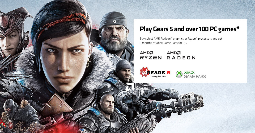 Image result for Buy select AMD Radeon™ graphics or Ryzen™ processors and get 3 months of PC Games with Xbox Game Pass. AMD Gears 5 and Xbox Game Pass logos