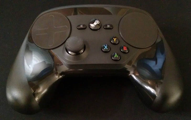 Close-up photo of the Valve Steam Controller.