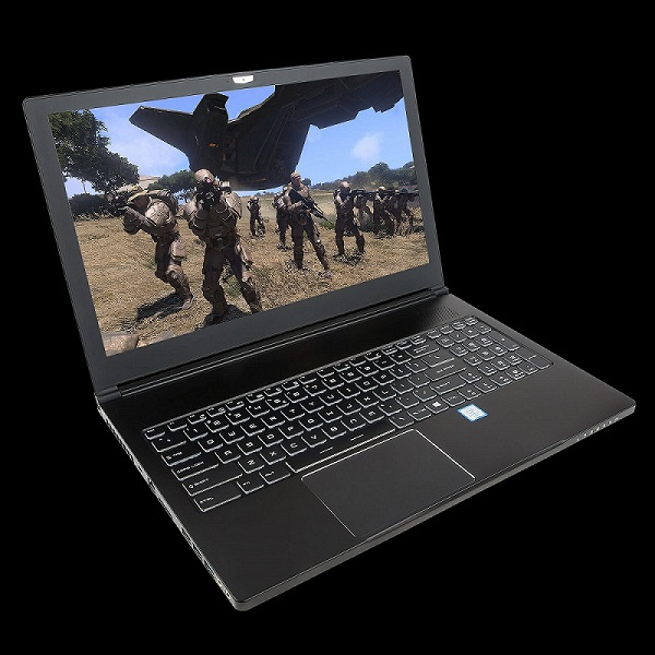 Image of the Chillblast Samurai Laptop with a shooting game on its screen