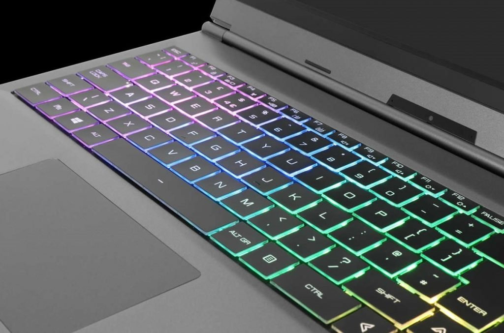 Close up of the RGB keyboard on the Chillblast Phantom gaming laptop