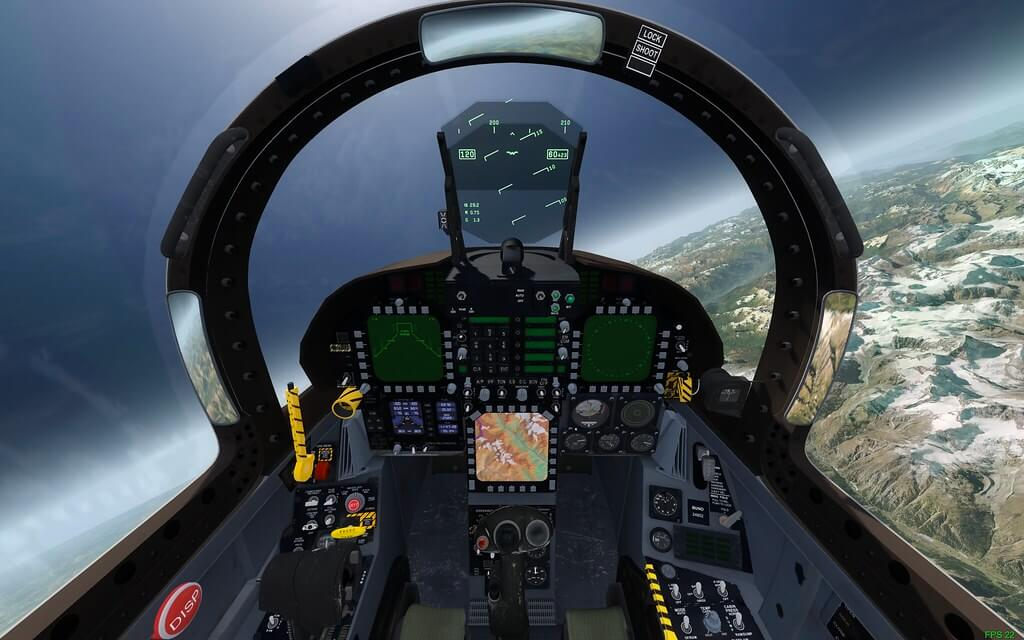 Screen capture image from Flight Sim X sat inside a cockpit showing the controls and the mountains below