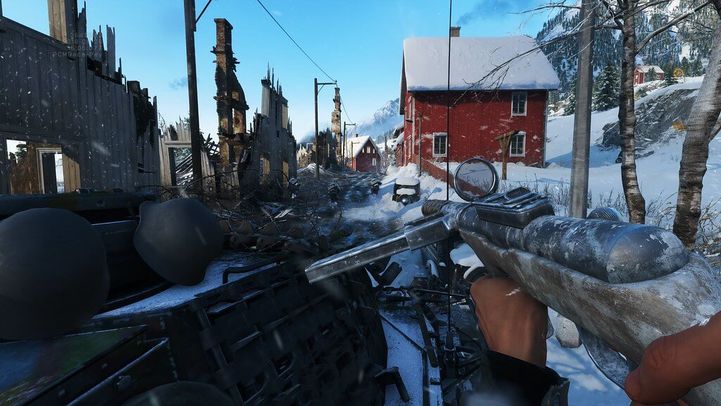Screen capture image from Battlefield V showing a snowy village road
