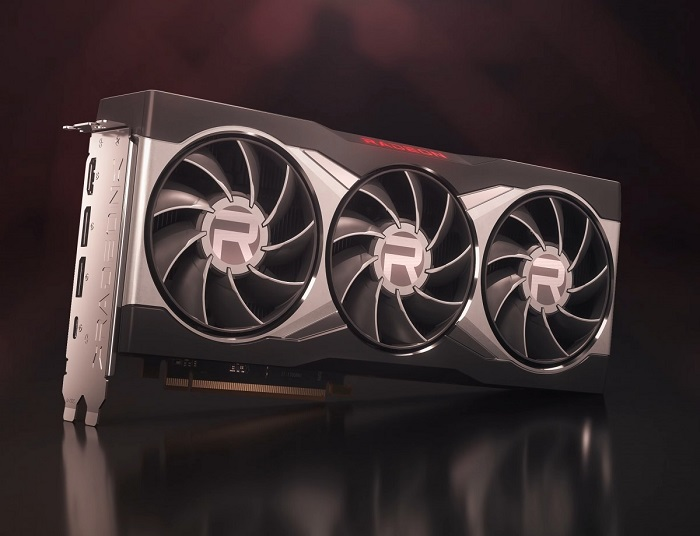 Promotional image of an AMD 6800 graphics card showcasing its 3 cooling fans