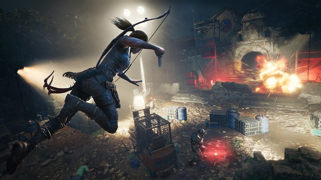 Screen capture image of Lara Croft jumping through the air in Shadow of the Tomb Raider