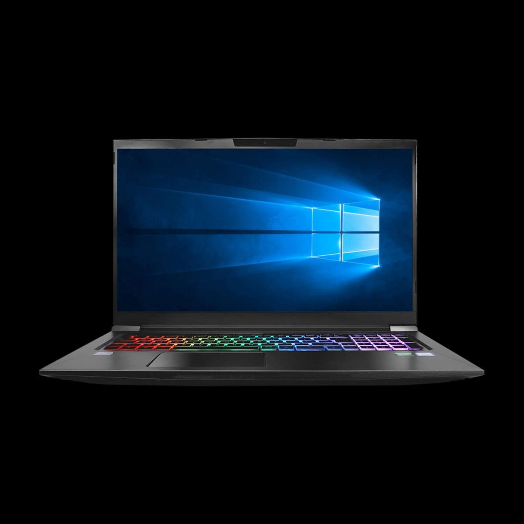 "Image of the Chillblast Defiant 17"" gaming laptop against a dark background"