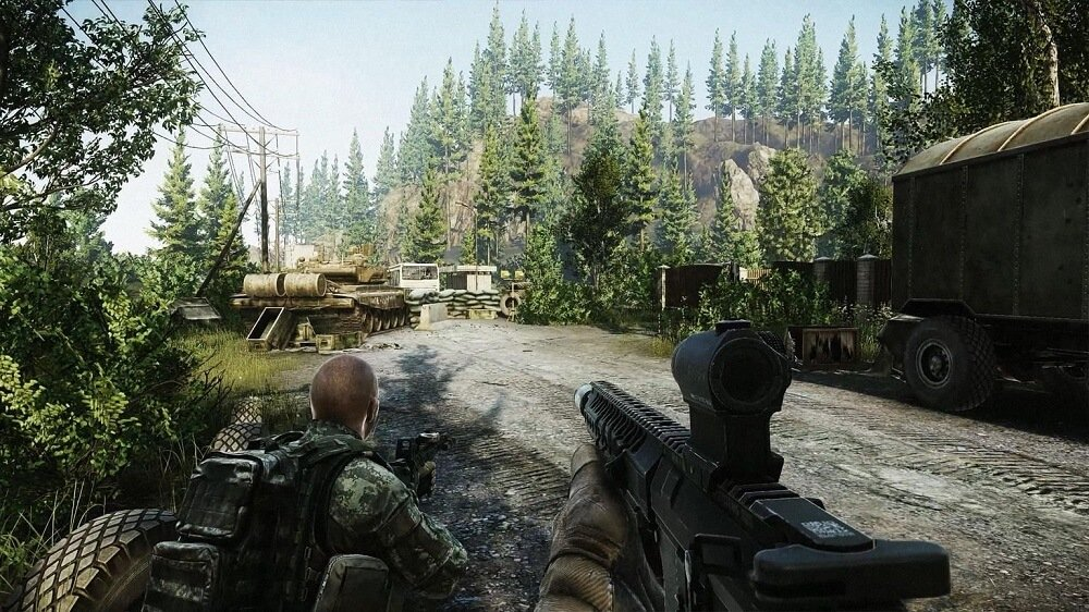 Screen capture of Escape from Tarkov gameplay from FPS point of view