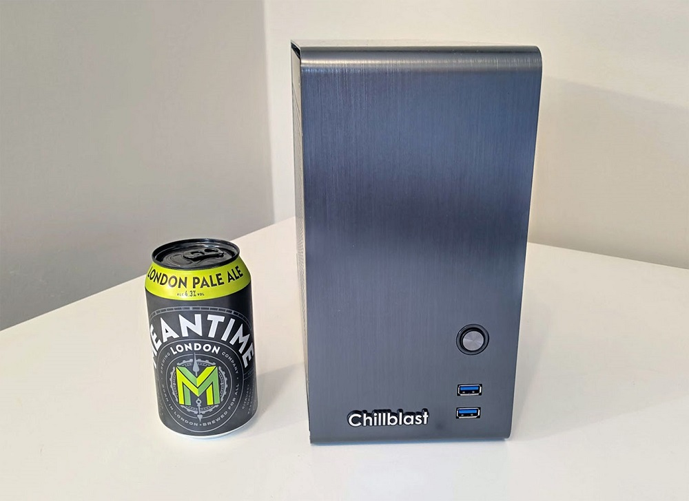 Image of the complete Chillblast Fusion Pocket Rocket PC next to a 330ml drink can for size comparison