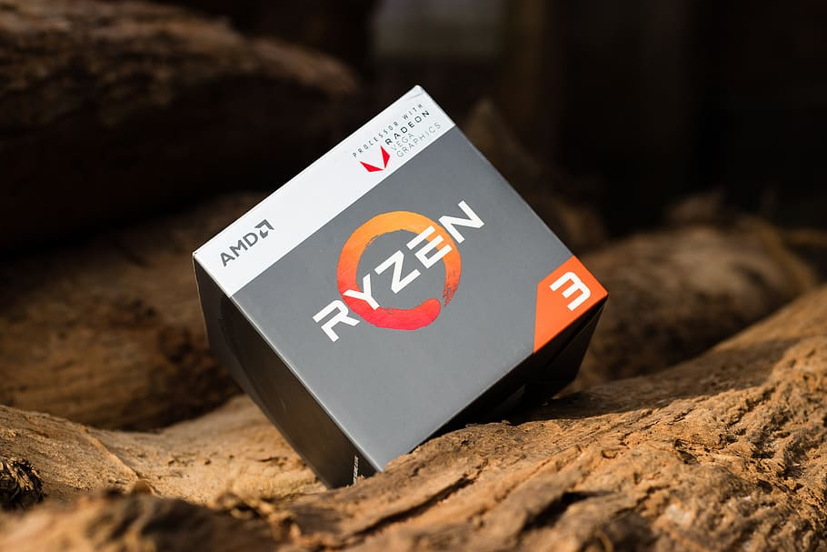 Image of an AMD Ryzen 3 box sat upon a fallen tree