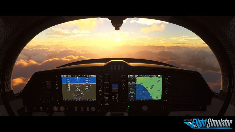 Screen capture image from Microsoft Flight Simulator 2020 from inside a cockpit looking out across the clouds during golden hour