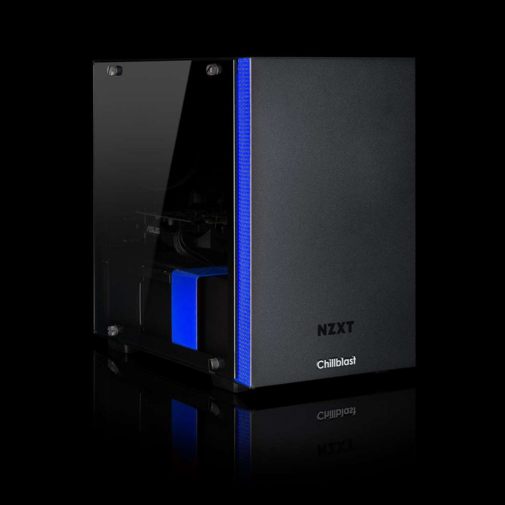 Image of the Chillblast Fusion Bandit RX 5500 XT Gaming PC against a dark background.