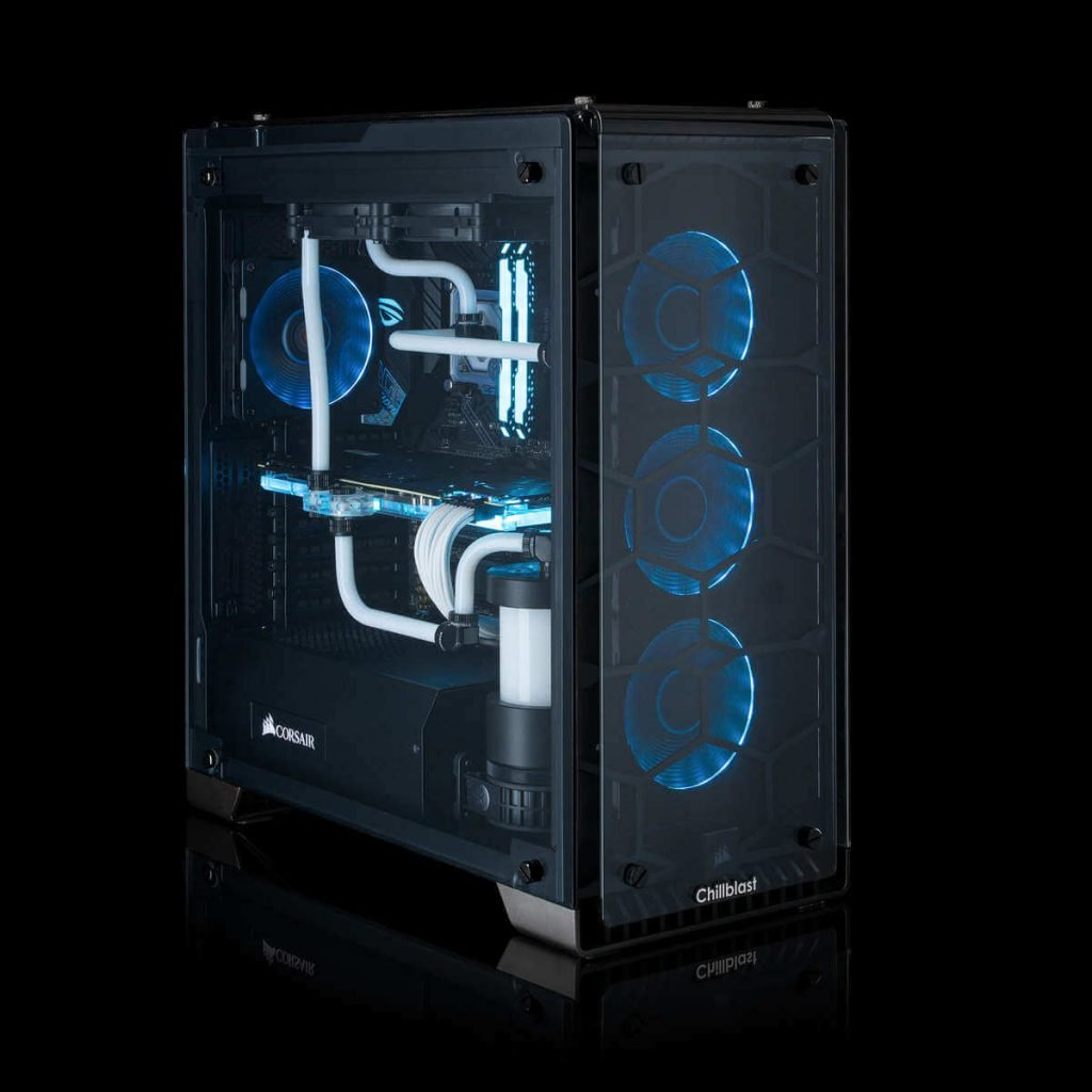 Image of the watercooled Chillblast Fusion Hailstorm X RGB Gaming PC against a dark background