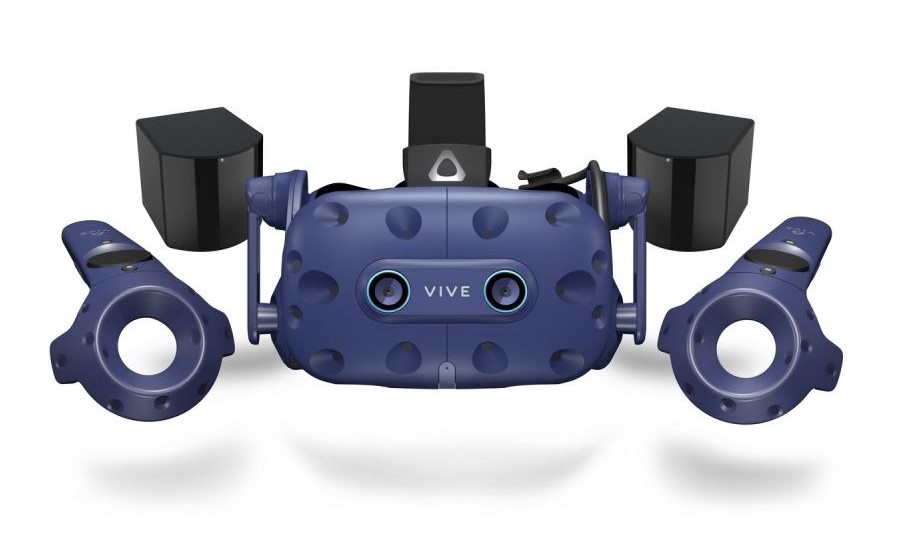 Image of the HTC Vive Pro VR headset surrounded by all it's accessories