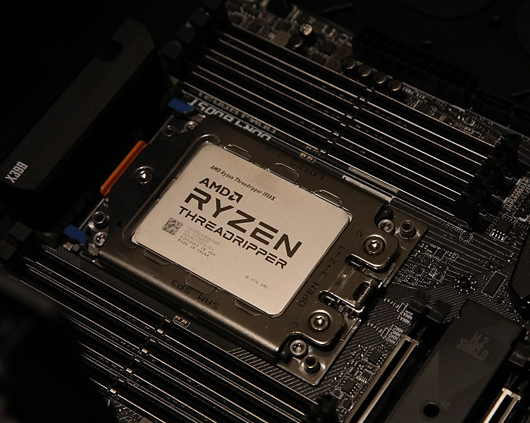 Close up of an AMD Threadripper CPU in a motherboard