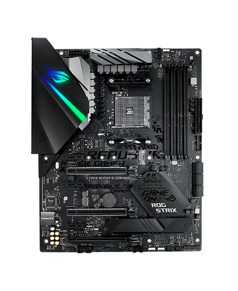 Image of an Asus ROG Strix B450-E motherboard