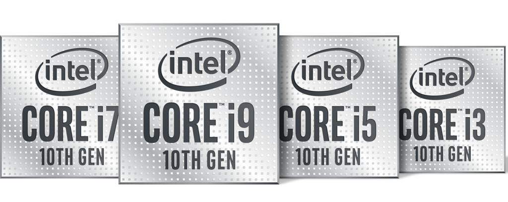 Image of the Intel 10th Gen CPU lineup logos