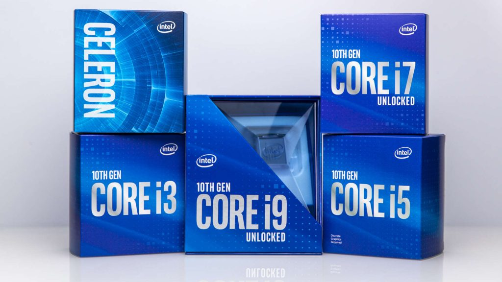 Image of the blue Intel 10th Gen CPU boxes all stacked neatly together against a white background