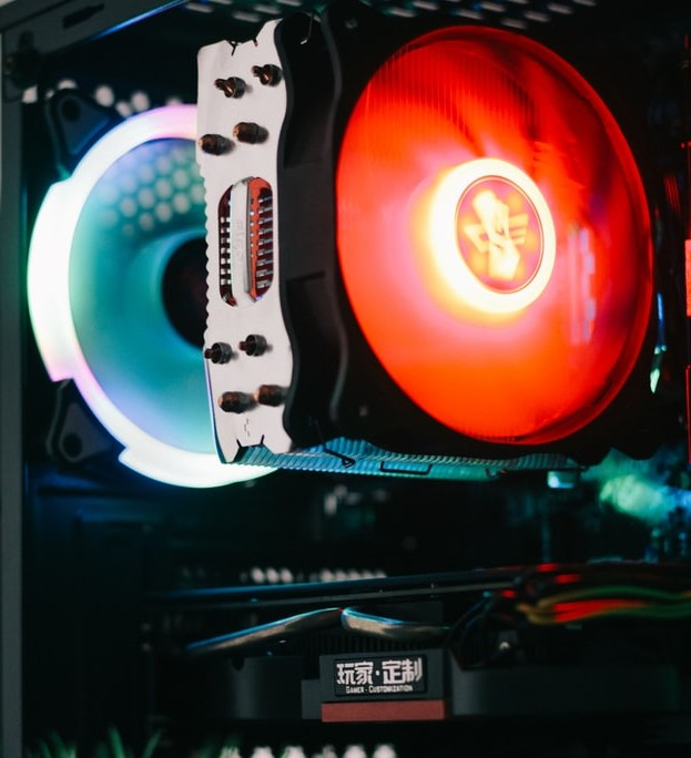 Close up image of a CPU cooler fan glowing red