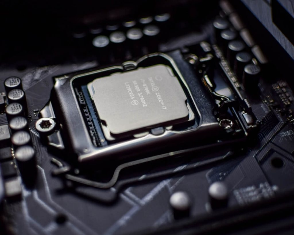 Close up of an Intel CPU in its socket on a motherboard