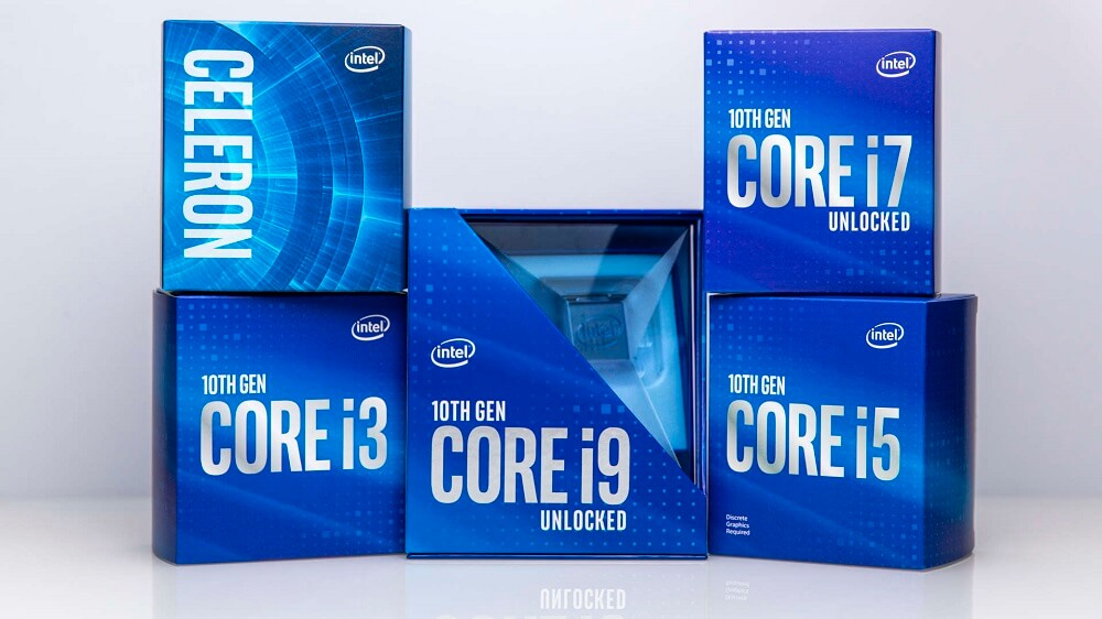 Image showing the blue boxes of Intel's 10th Gen CPUs