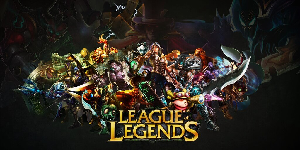 Promotional image for League of Legends showing a collection of characters atop the League of Legends logo