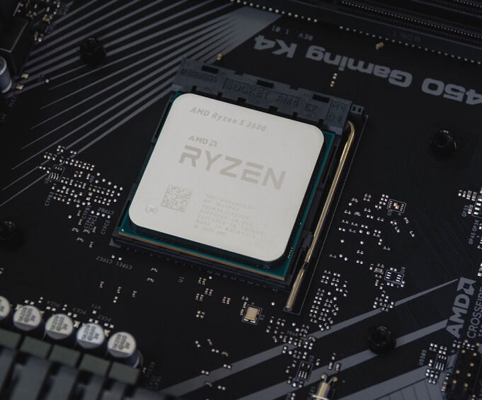 Close up image of an AMD Ryzen 5 3600 CPU in a motherboard