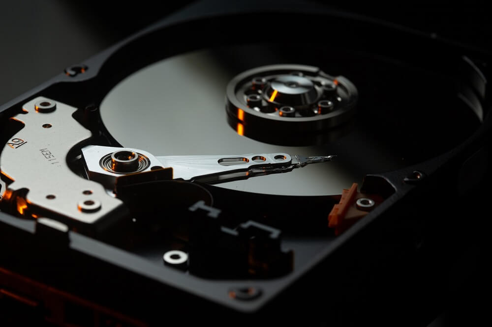 Close up of the inside of a hard drive disk