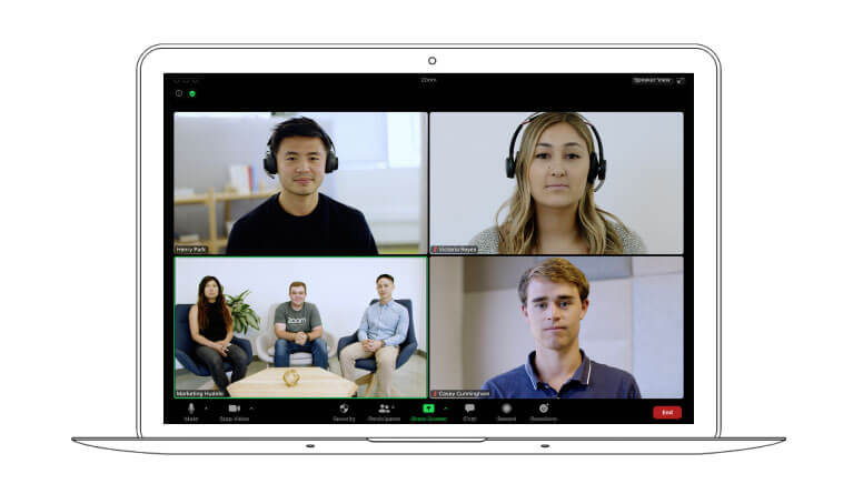 Image of a 4-way video call on Zoom on a laptop