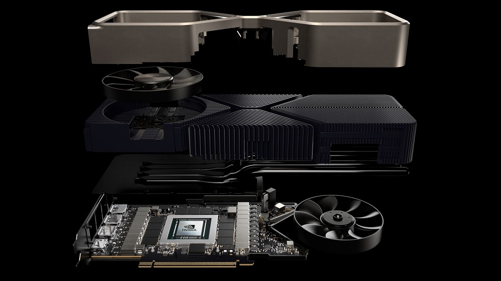 Promotional image of a deconstructed 3000 series GPU against a dark background