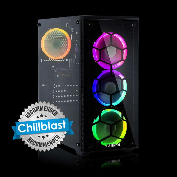 Image of the Chillblast Fusion RTX 3060 Ti Custom Gaming PC with colourful RGB fans against a black background
