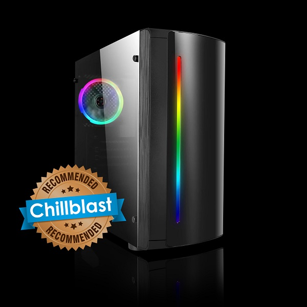 Image of the Chillblast Fusion Ryzen 3 GTX 1650 Gaming PC against a black background