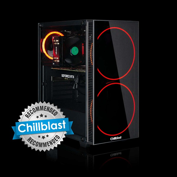 Image of the Chillblast Fusion RTX 3070 Custom Gaming PC against a black background, with a silver 'Chillblast Recommended' ribbon on the left side
