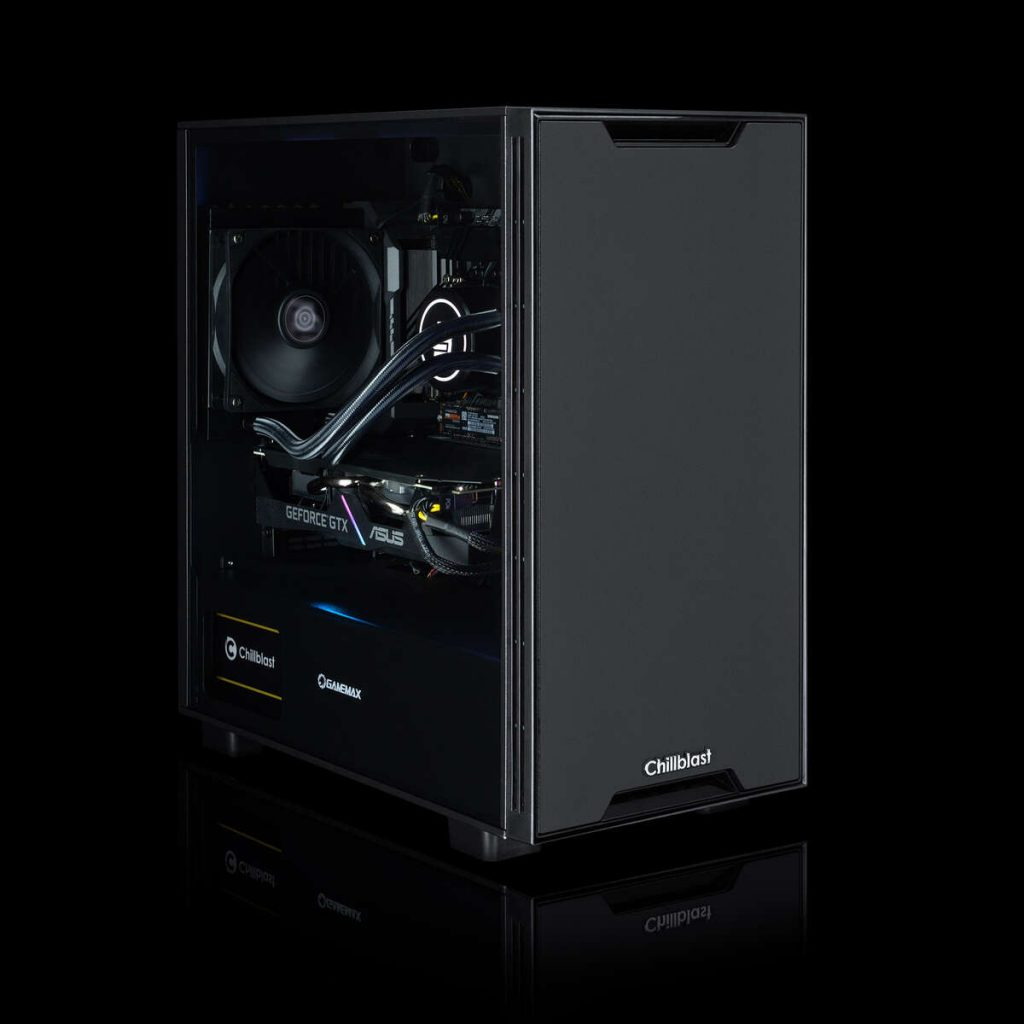 Images of the Chillblast Fusion Marine gaming PC against a dark background