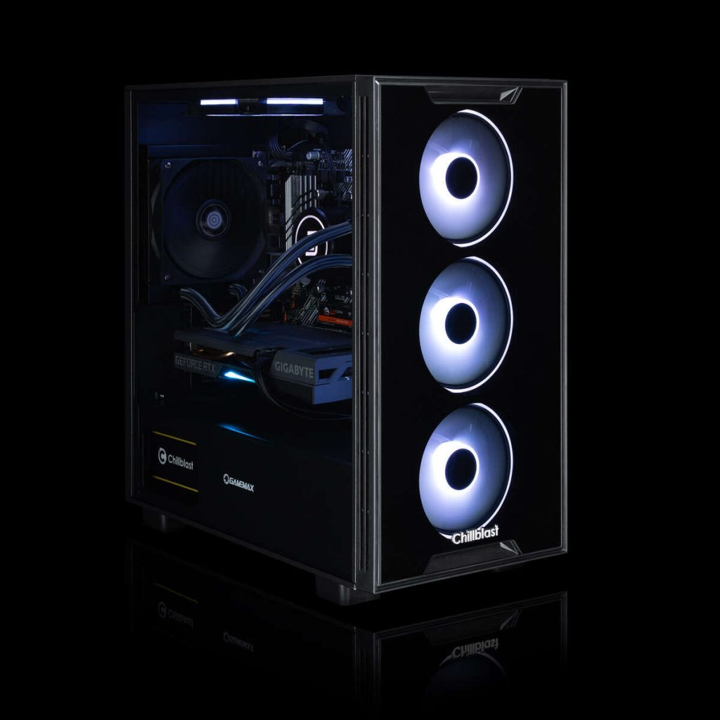 Image of the Chillblast Fusion Commando Gaming PC against a black background