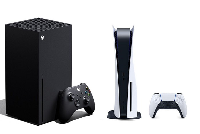 Image of an Xbox Series X next to a PS5 with their controllers