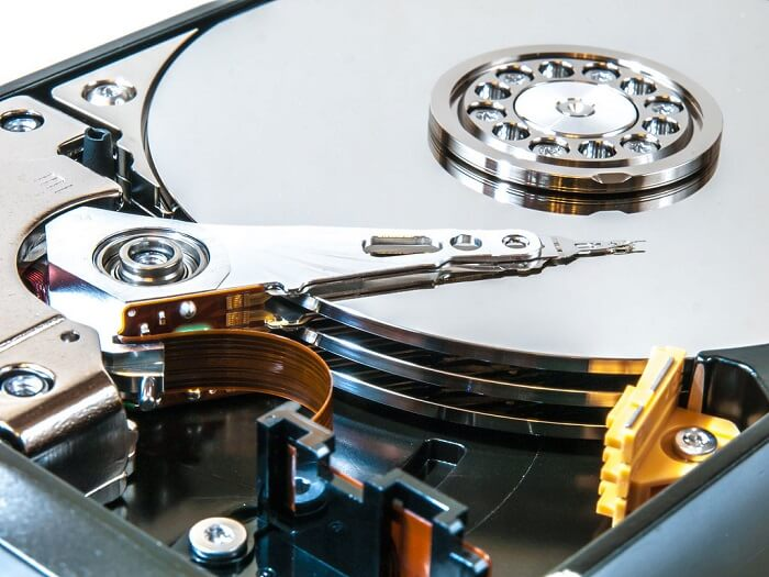 Close up image of the inside of a hard drive