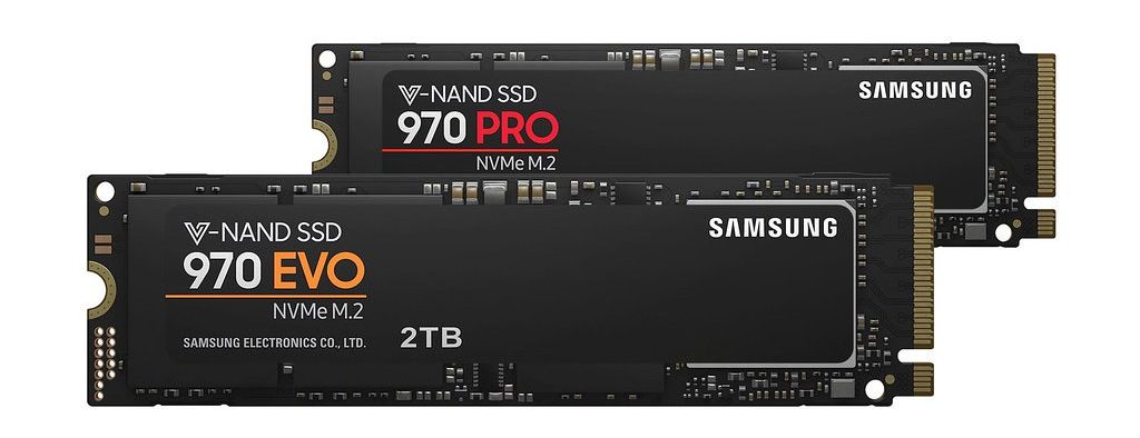 Image of a Samsung 970 Evo and 970 Pro NVMe SSD against a white background