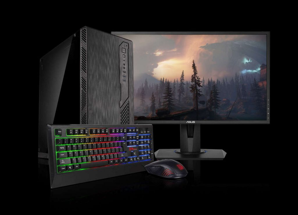 Image of the Chillblast Toro Gaming PC Bundle showing a PC, mouse, keyboard and monitor against a black background