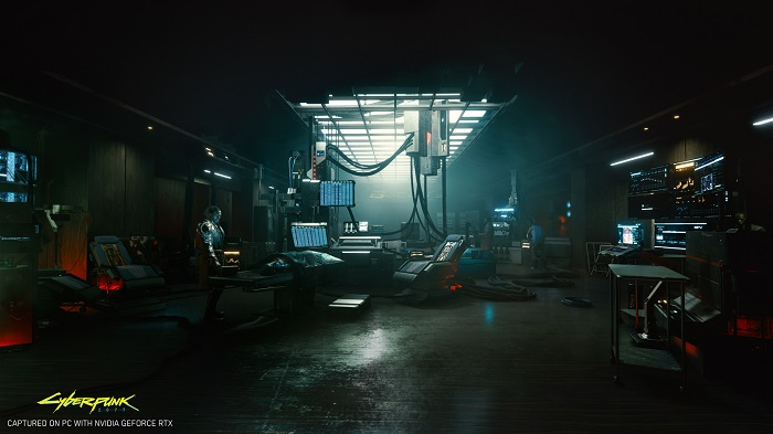 Screen capture image from the CD Projekt Red game Cyberpunk 2077 showing off its ray tracing appearance