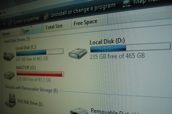 Image of a PCs disk space with each disk being almost full