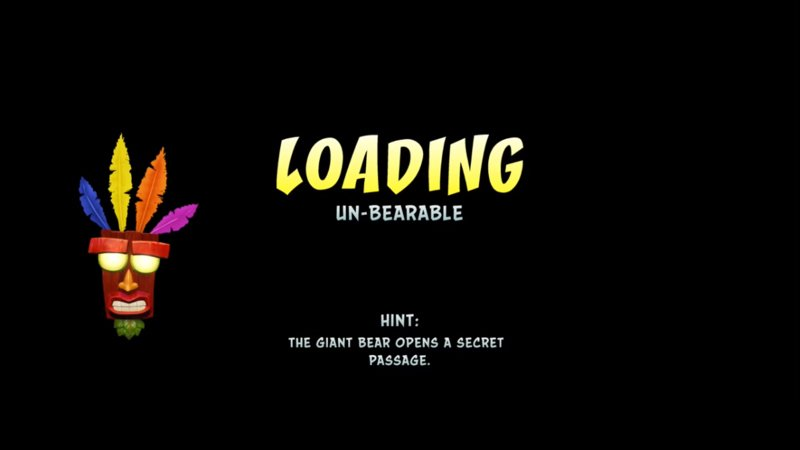 """Image of a loading screen from the game Crash Bandicoot that includes the text """"Loading"""" and """"un-bearable"""""""
