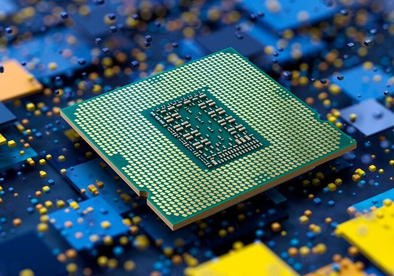 A promotional image that shows the underside of an 11th gen Intel CPU