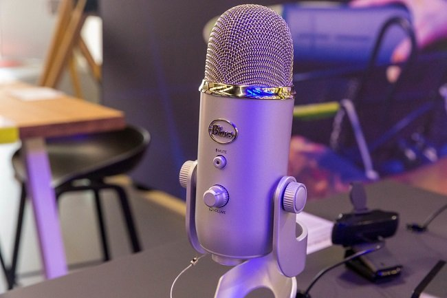 Image of a silver Blue Yeti Microphone on a table